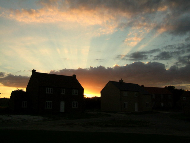 Sunset between new houses at Kings Court