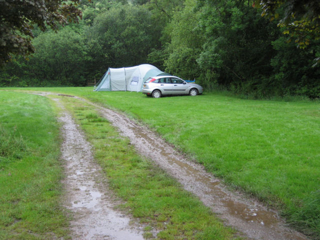 Camping in the rain at Westermill Farm
