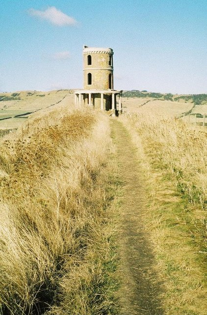 Kimmeridge: the South West Coast Path passes Clavell Tower