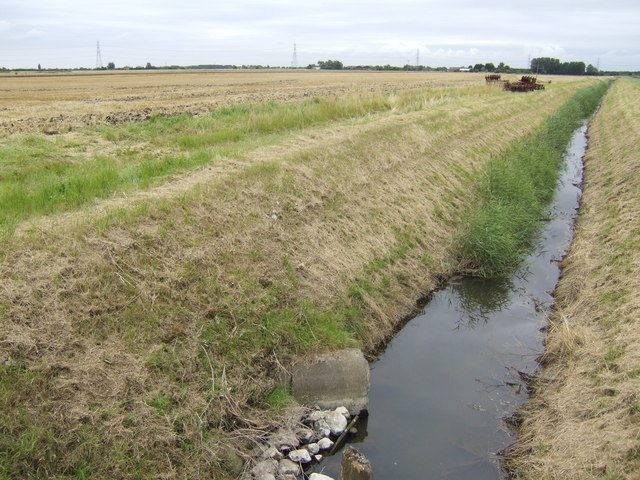 Harvested field and drain