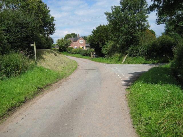 Lane junction before Podmore House farm