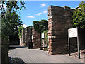 SO6024 : Bridge piers - remains of railway bridge at Fiveways by Pauline Eccles
