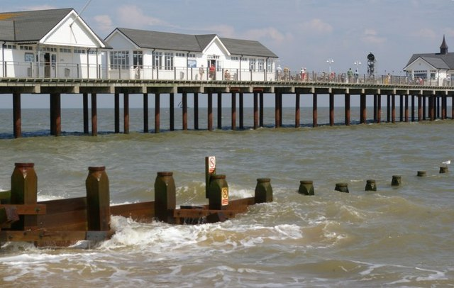The pier at Southwold, with the groynes in the foreground