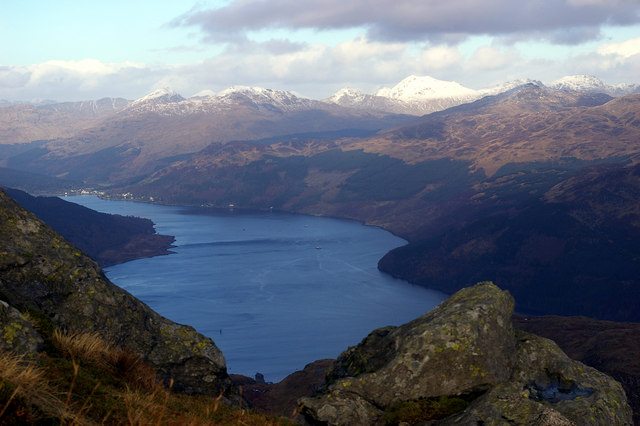 Looking North to Loch Goil and the Arrochar Alps from slopes of Creachan Mor