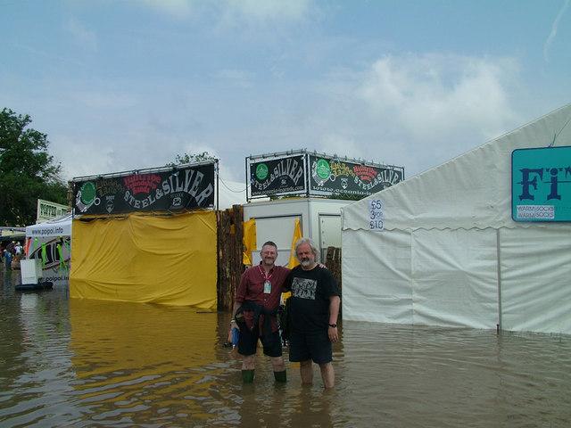 Old Men in water at Glastonbury Festival 2005