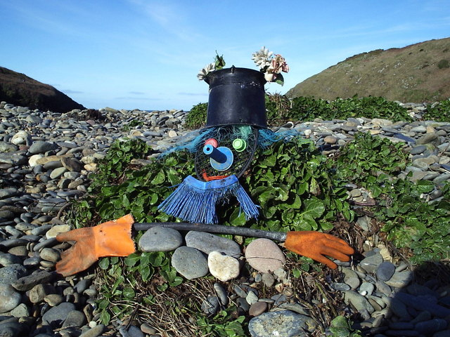 Jetsam man at Aber Rhigian beach