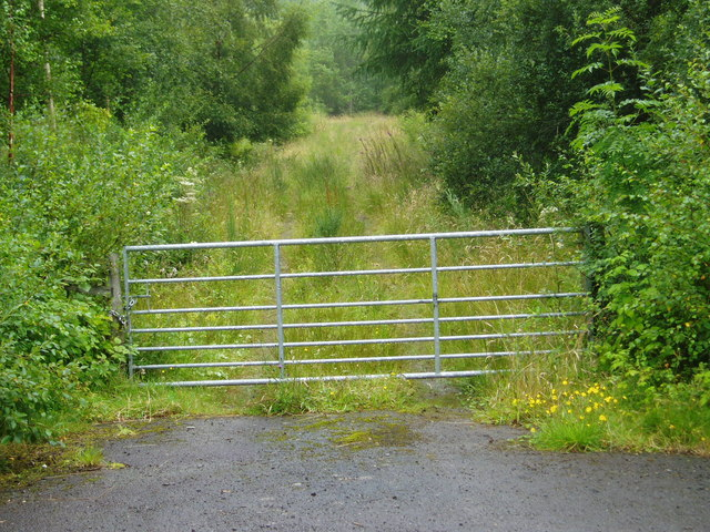 Gated entrance to plantation north of Craigencoon.