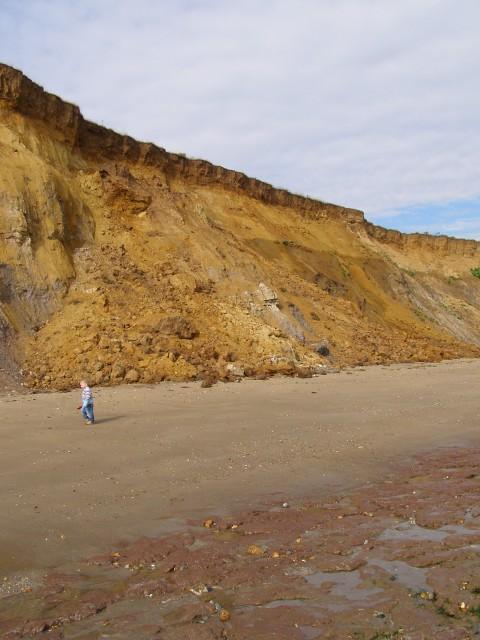 Landslip in the cliffs east of Hanover Point