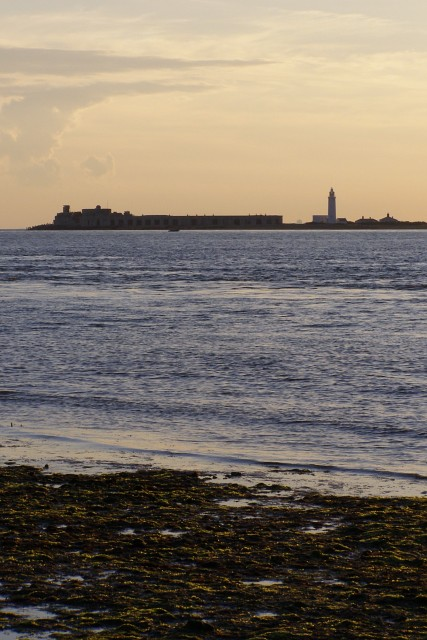 Hurst Castle and lighthouse from Round Tower Point