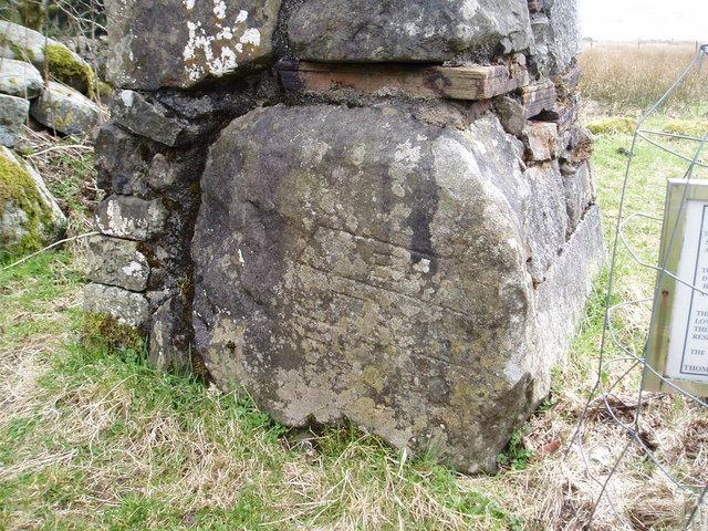 Engraved stone near Culsharg Bothy.