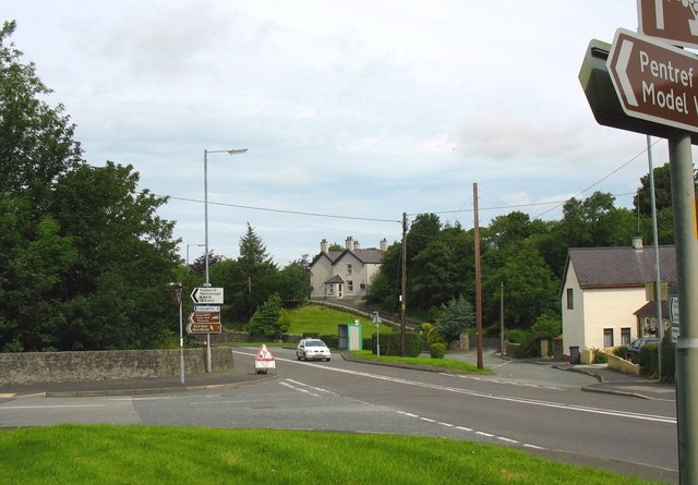 Junction of the B4419 from Newborough with the A5 at Pentre Berw