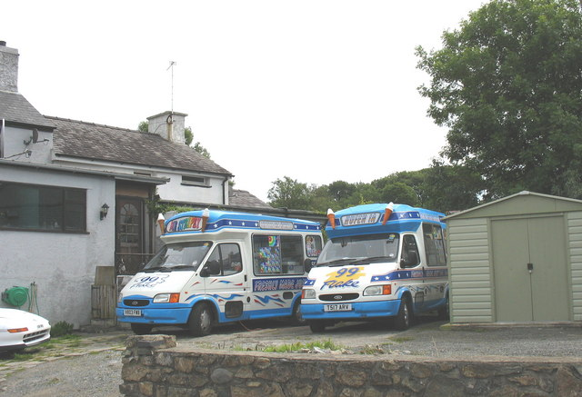 An ice cream van depot