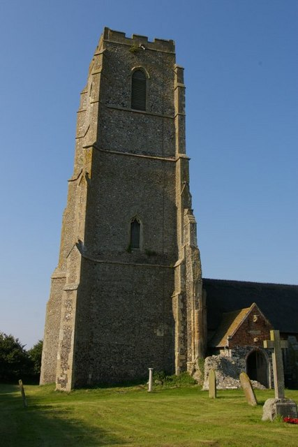 The current St Andrew's church, Covehithe