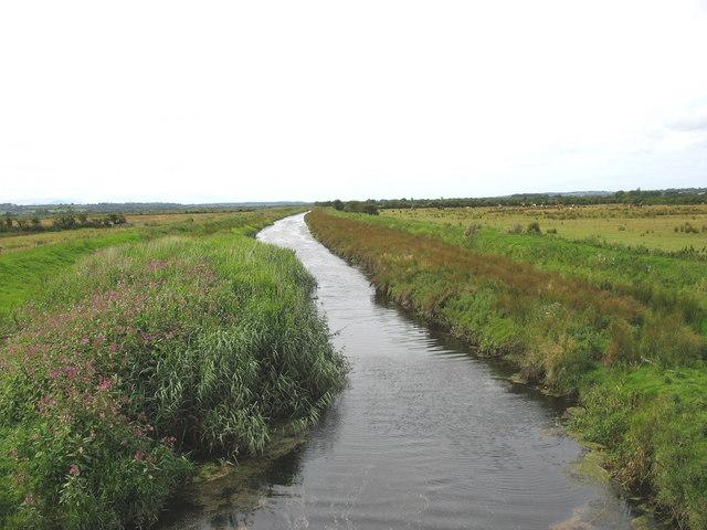 The canalised Afon Cefni below Bulkeley Bridge
