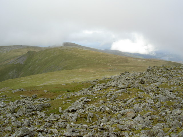 Boulder field with the path to Foel Grach promising easier walking