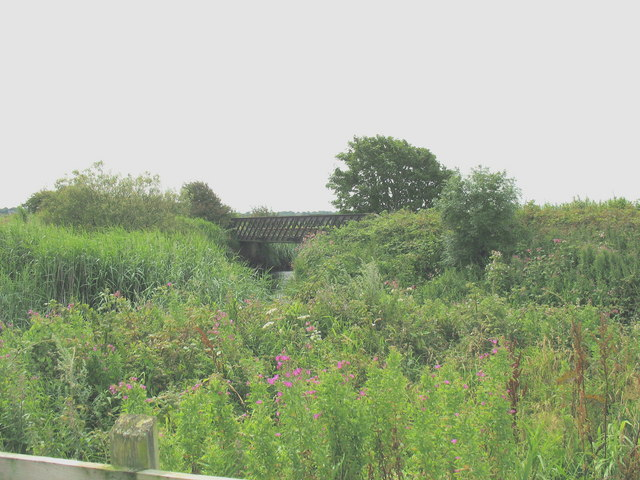 The disused Amlwch branch line's Pont Goed from the embankment