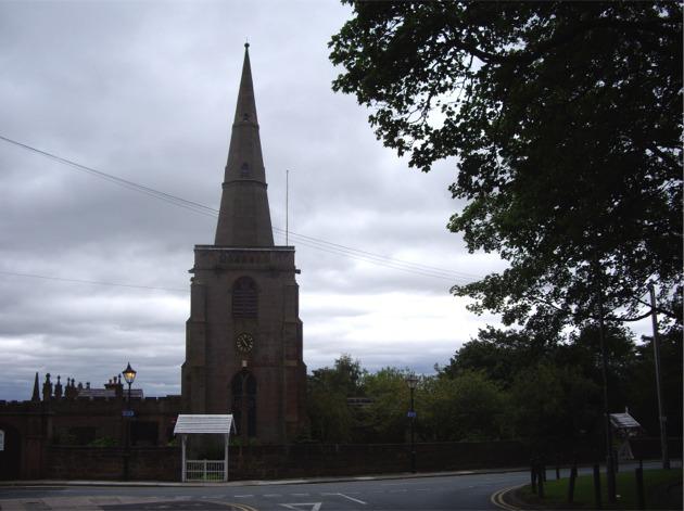 All Saints Church, Childwall under an overcast sky