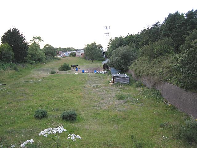 Looking north from disused railway bridge, Cromer