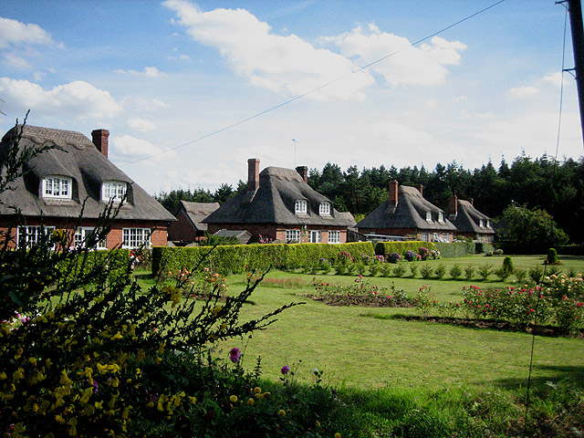 A row of beautiful thatched cottages