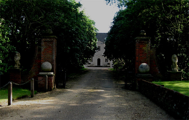 Stody Lodge through its impressive gates