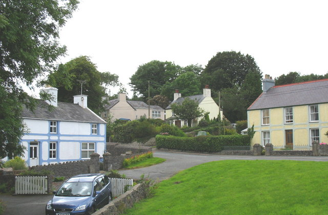 Houses near the crossroads at Talwrn
