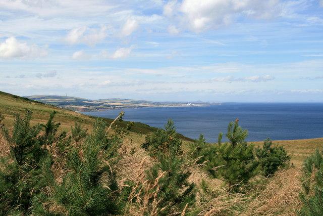 East Lothian coastline from Dowlaw