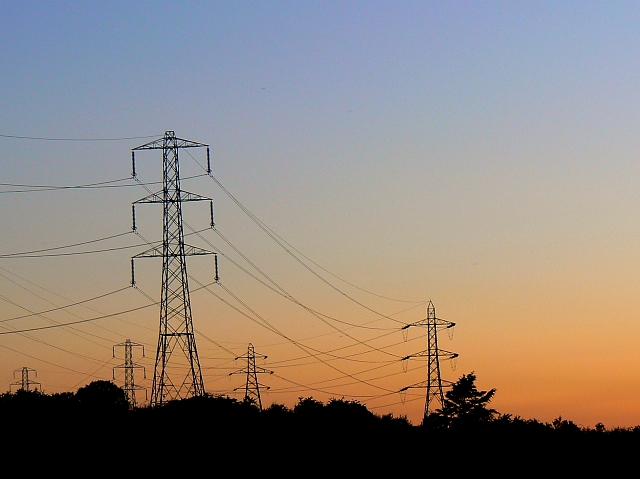 Pylons at sunset, south of Easton Royal