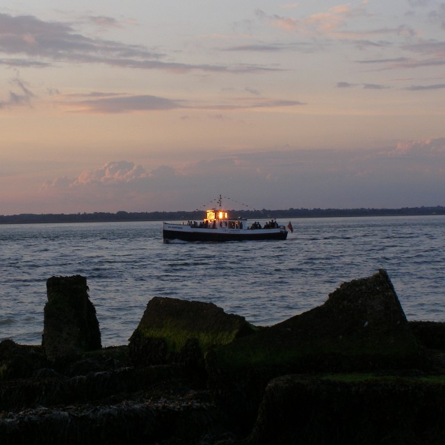 Pleasure boat in the Solent off Round Tower Point