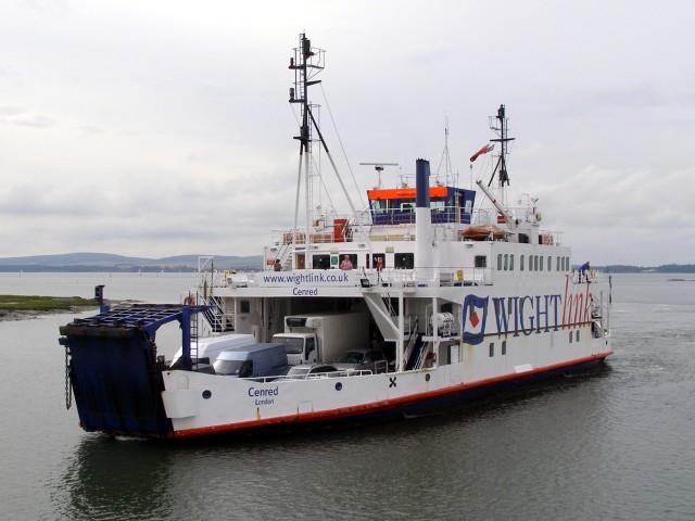 Wightlink ferry Cenred entering the Lymington River