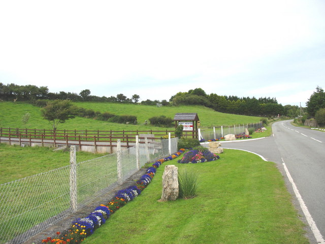 The colourful entrance to Nant Newydd caravan park