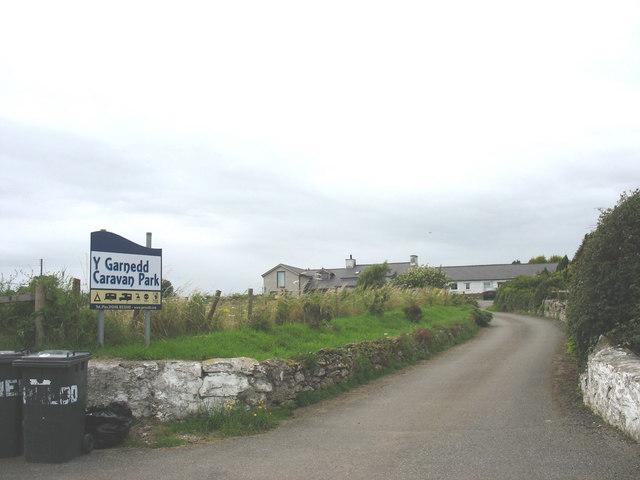 Entrance to  Y Garnedd Caravan Park, Brynteg