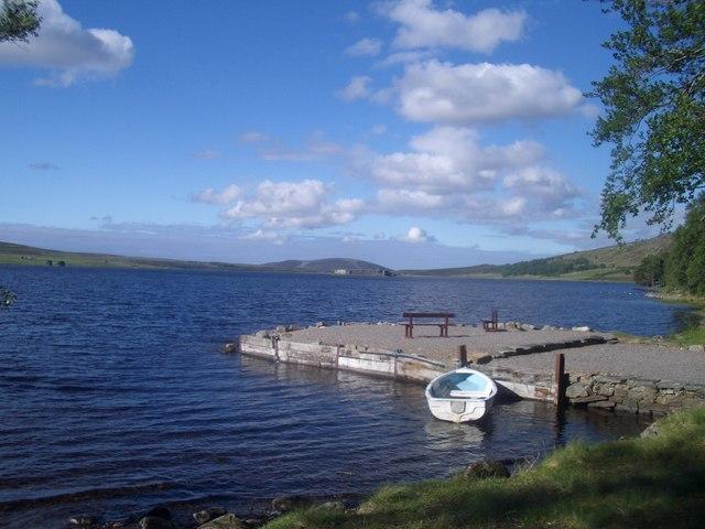 Lochindorb: the jetty at Lochindorb Lodge
