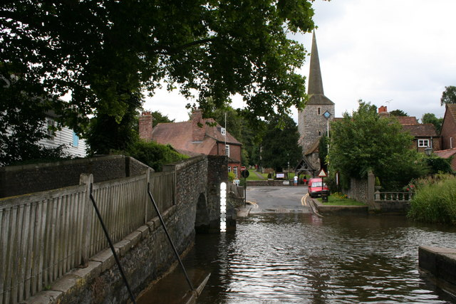 The Ford and St. Martin's Church, Eynsford, Kent