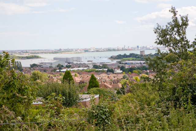 View of Paulsgrove Lake from footpath above Anson Grove, Portchester