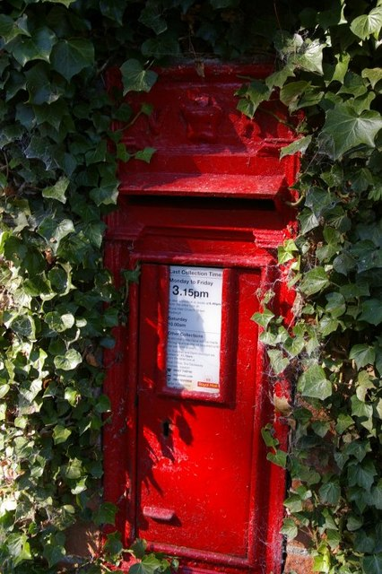 Postbox in wall outside St Mary the Virgin, Kettlebaston