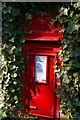 TL9650 : Postbox in wall outside St Mary the Virgin, Kettlebaston by Fractal Angel