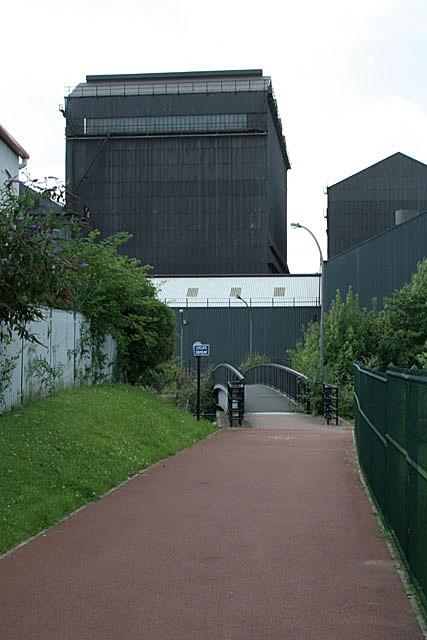 Steelworks and footbridge