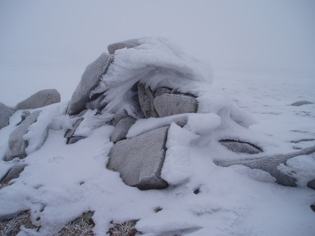 Corserine's east cairn in winter condition.