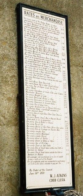 Lyme Regis: rates on merchandise at the Cobb