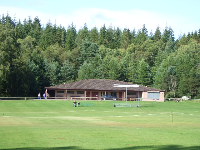 Cricket pitch and pavilion