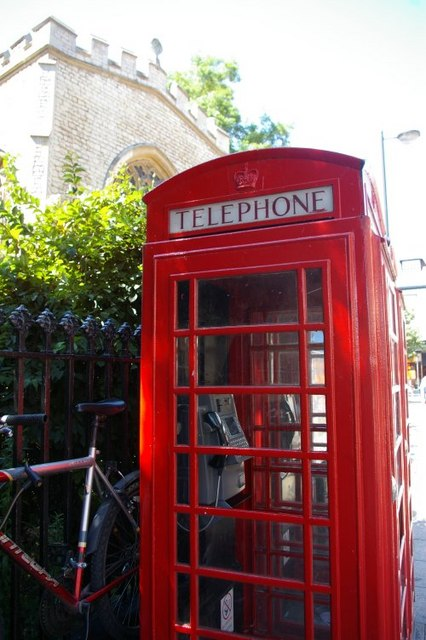 Telephone box outside Holy Trinity church