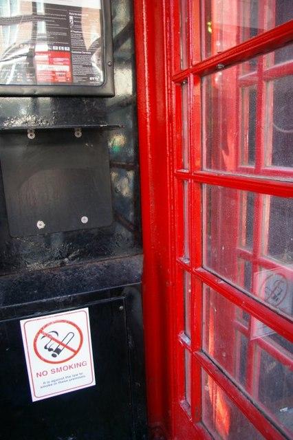 Close up of No Smoking sign inside telephone box