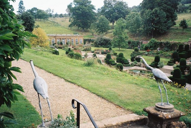 Mapperton Gardens: flamingoes at top of handrails
