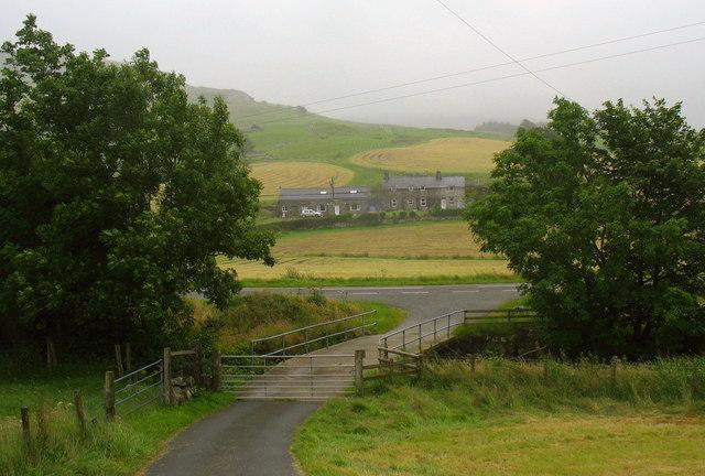 The Bryn-celynog farm road bridge and Dol-Haidd Farm