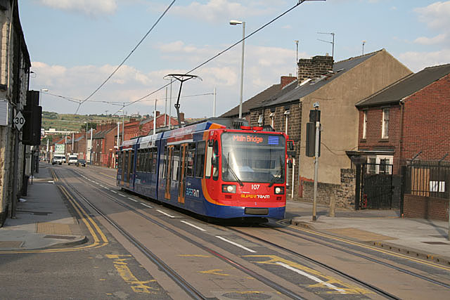 Sheffield supertram approaching Malin Bridge terminus