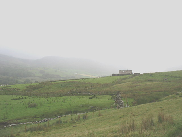 View back across the valley towards the stone barn