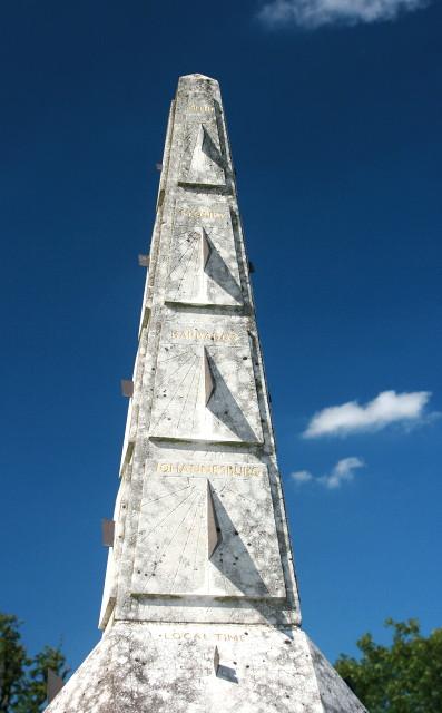 Elaborate sundial by Wormsley Cricket Ground
