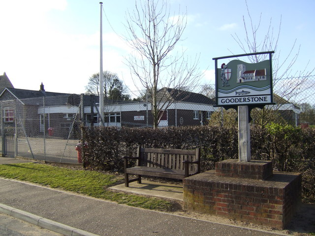 Gooderstone village sign and primary school