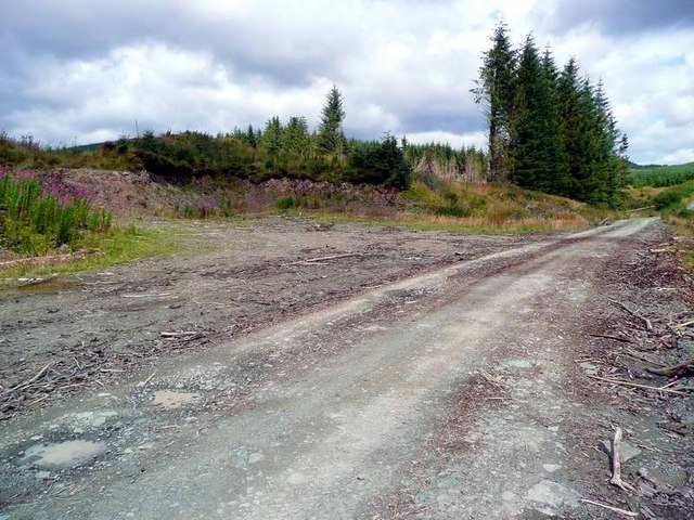 Debris on the road from clear fell in the Eskdalemuir Forest
