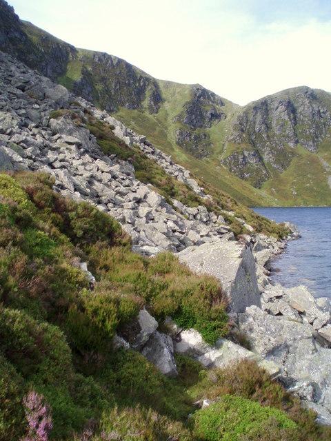 Scree below crags at Loch Brandy